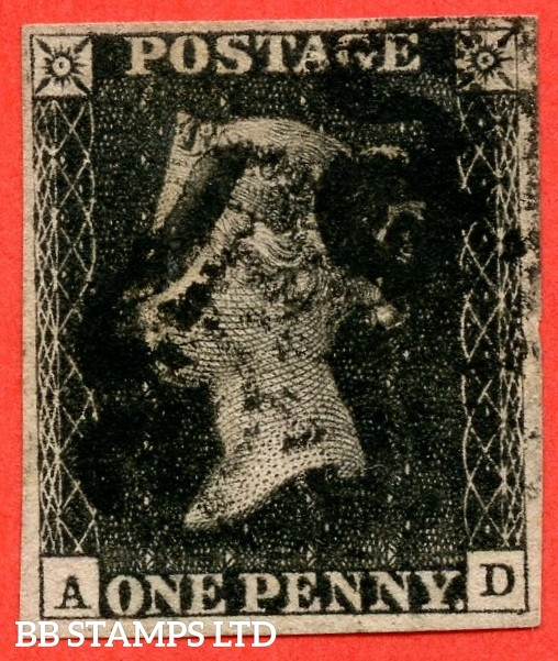 """SG. 2. A1 (2). AS41. """" AD """". 1d black. Plate 6. A good used example cancelled by a black maltese cross. With the variety """" Guide dot below SE square just touching bottom line """""""