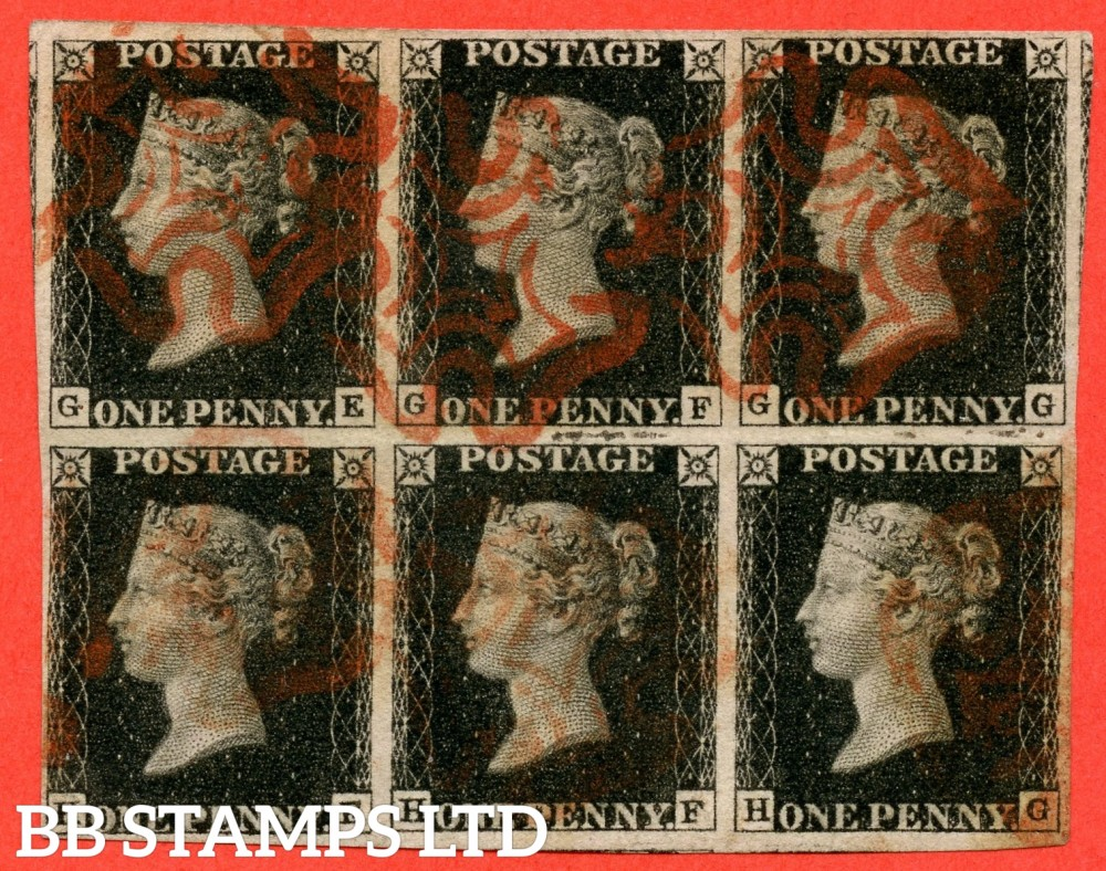 "SG. 2. A1 (2). AS41. "" GE GF GG HE HF HG "". 1d black. Plate 6. A very fine used block of 6. cancelled by red maltese crosses. A RARE multiple in fine condition."