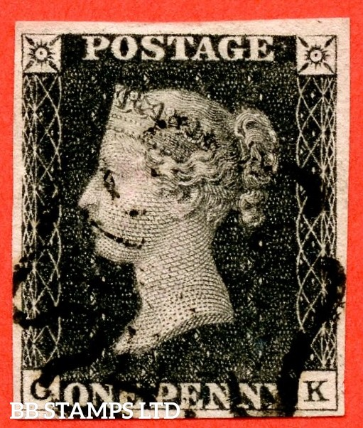 """SG. 2. A1 (2). AS41. """" CK """". 1d black. Plate 6. A very fine used example cancelled by a black maltese cross. Complete with Brandon certificate."""