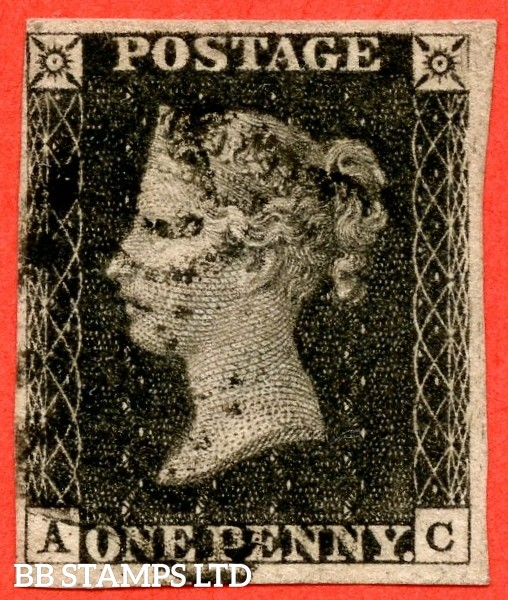 """SG. 2 c. A1 (2) h. AS41. """" AC """". 1d black. Plate 6. A fine used example cancelled by a black maltese cross. With the listed variety """" Vertical guide line in NE square """". Also variety """" Lower half of right side line weak / missing """"."""