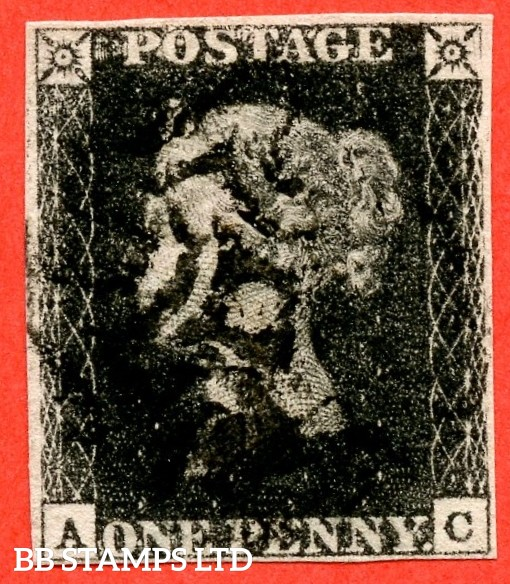 "SG. 2 c. A1 (2) h. AS41. "" AC "". 1d black. Plate 6. A good used example cancelled by a black maltese cross. With the listed variety "" Vertical guide line in NE square "". Also variety "" Lower half of right side line weak / missing ""."