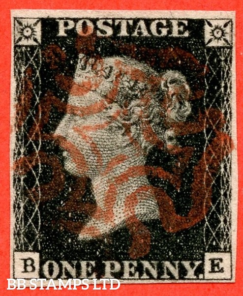 """SG. 2 c. A1 (2) h. AS41. """" BE """". 1d black. Plate 6. A fine used example cancelled by a fine red maltese cross with the listed variety """" Vertical guide line NE square """"."""