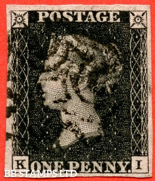 "SG. 2 c. A1 (2) h. AS41. "" KI "". 1d black. Plate 6. A fine used example cancelled by a black maltese cross. With the listed variety "" Vertical guide line in NE square "". Also varieties "" Dots in SE & SW squares. Bottom line extends left ""."