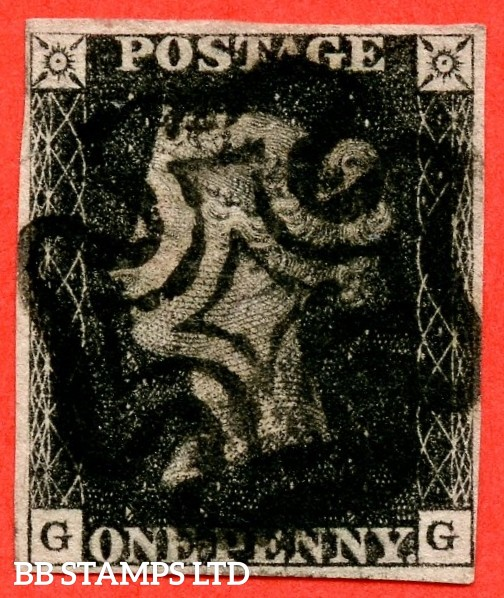 """SG. 2. A1 (2). AS44. """" GG """". 1d black. Plate 7. A good used example cancelled by a black maltese cross."""