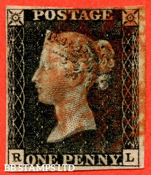 """SG. 2. A1 (2). AS44. """" RL """". 1d black. Plate 7. A good used example cancelled by a red maltese cross. With the """" Bottom line extends right and right side line extends below """" varieties."""