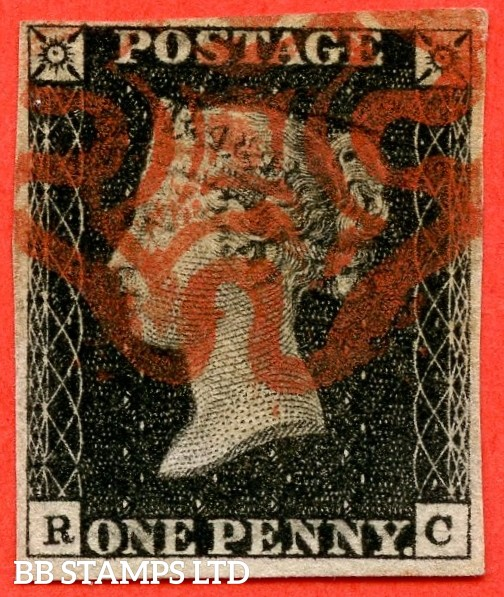 """SG. 2. A1 (2). AS44. """" RC """". 1d black. Plate 7. A fine used example cancelled by a red maltese cross. With the """" Faint diagonal scratch in SE square touching back of ' C ' """" variety."""