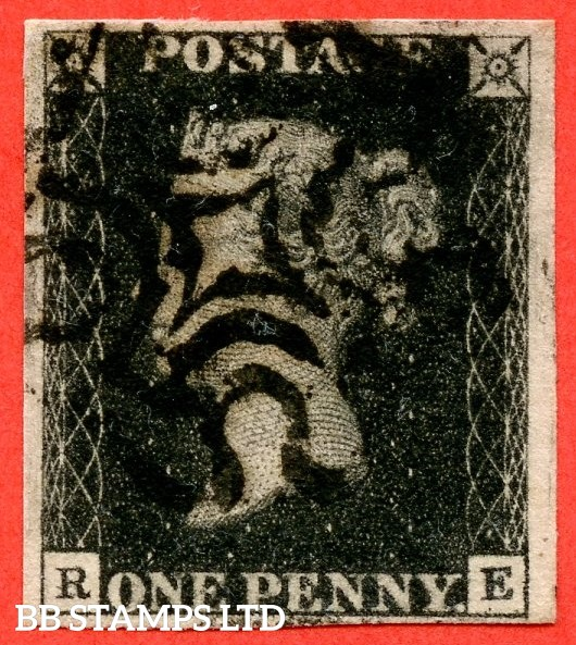"""SG. 2. A1 (2). AS44. """" RE """". 1d black. Plate 7. A fine used example cancelled by a black maltese."""