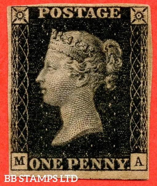"SG. 2. A1 (2). AS44. "" MA "". 1d black. Plate 7. A fine very lightly mounted mint example complete with RPS certificate."