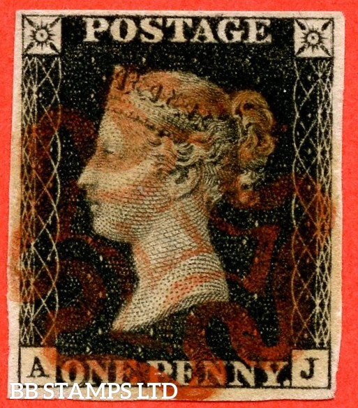 """SG. 2 c. A1 (2) h. AS44. """" AJ """". 1d black. Plate 7. A very fine used example cancelled by a red maltese with the listed """" Vertical guide line NE square """" also """" ' O ' flaw variety."""