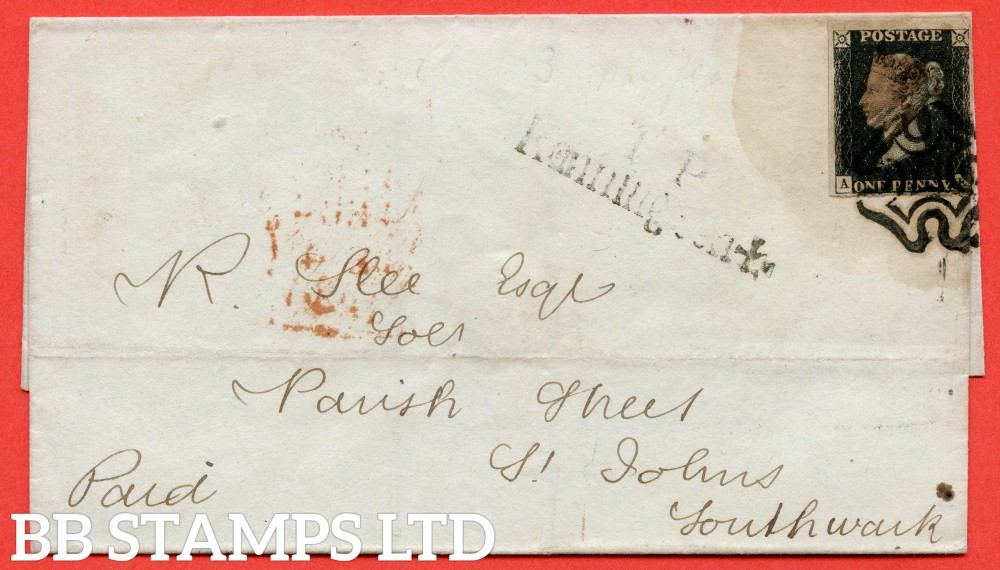 """SG. 2 c. A1 (2) h. AS46. """" AE """". 1d black. Plate 8. A fine used example on cover to LONDON dated 4th December 1840. With the listed """" Vertical guide line NE square """" variety. EXPERIMENTAL use of BLACK MX."""
