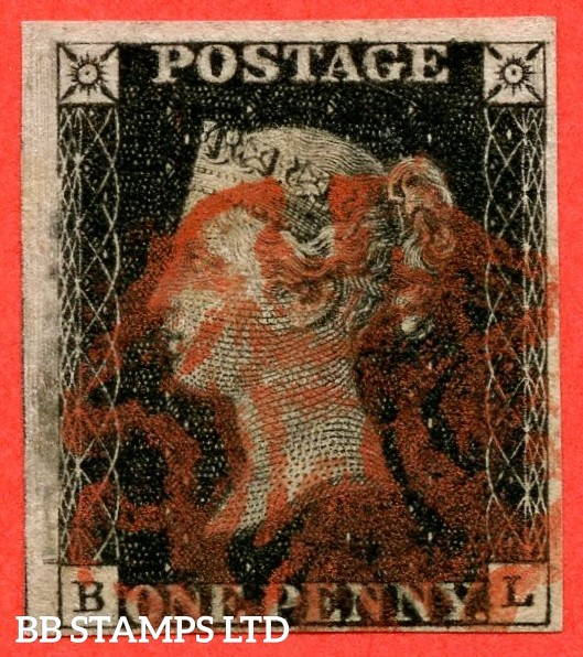 """SG. 2 c. A1 (2) h. AS46 c. """" BL """". 1d black. Plate 8. A very fine used example cancelled by a red maltese cross. With the listed """" Marks in left margin just above top of SW square and vertical guide line NE square """" varieties."""