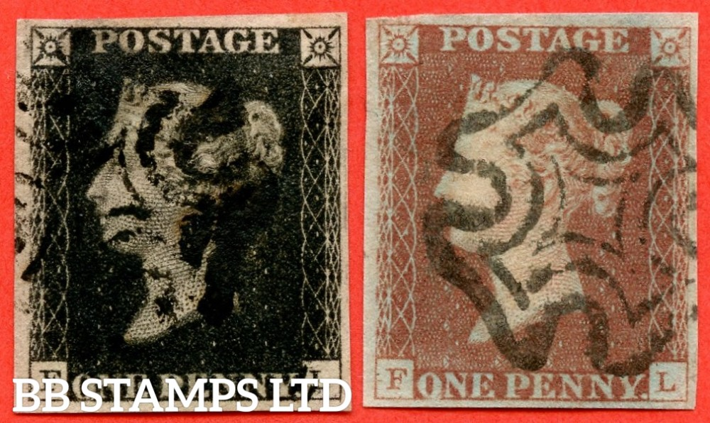 "SG. 1c & 7. A1 (1) h & A2. AS46 & AS47. "" FL "". Plate 8. A fine used matched pair with the listed variety "" Vertical guide line in NE sq. "". Also constant "" ' O ' flaw. Guide dot SE sq. and right side line extends below "" varieties."