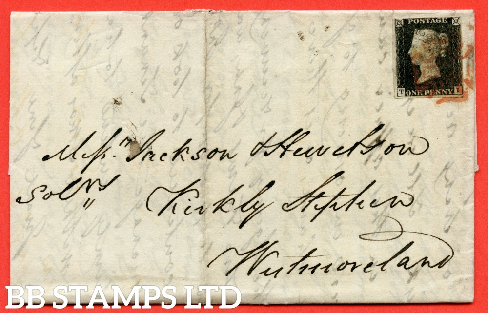 """SG. 2. A1 (2). AS46. """" TI """". 1d black. Plate 8. A very fine used example on cover from LONDON to KIRKBY STEPHEN dated 5th November 1840. With the """" ' O ' flaw """" variety."""