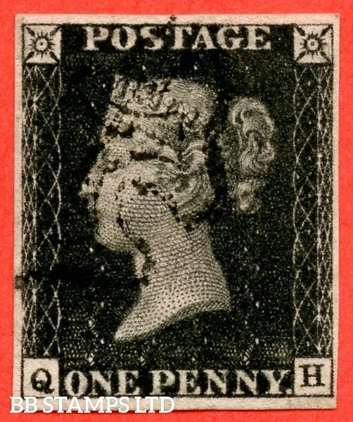 """SG. 2 c. A1 (2) h. AS46. """" QH """". 1d black. Plate 8. A very fine used example cancelled by a black maltese cross. With the listed variety """" Vertical guide line NE square """"."""
