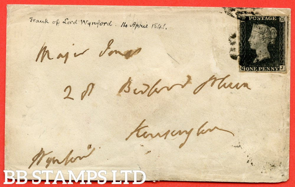 """SG. 2 c. A1 (2) h. AS46. """" QJ """". 1d black. Plate 8. A good used example on cover from BATH to LONDON dated 14th April 1841. With the listed """" Vertical guide line NE sq. """" variety. Also """" ' O ' flaw ( first stage ) """" variety."""
