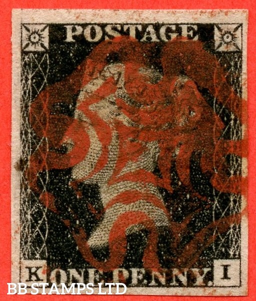 """SG. 2. A1 (2). AS46. """" KI """". 1d black. Plate 8. A fine used example cancelled by a red maltese cross with the """" ' O ' flaw """" variety."""