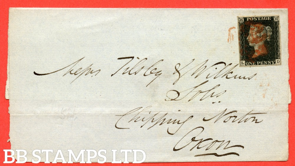 """SG. 2 c. A1 (2) h. AS46. """" LD """". 1d black. Plate 8. A fine used example on large part cover from COVENTRY to CHIPPING NORTON dated 19th November 1840. With the listed """" Vertical guide line NE sq. """" variety."""