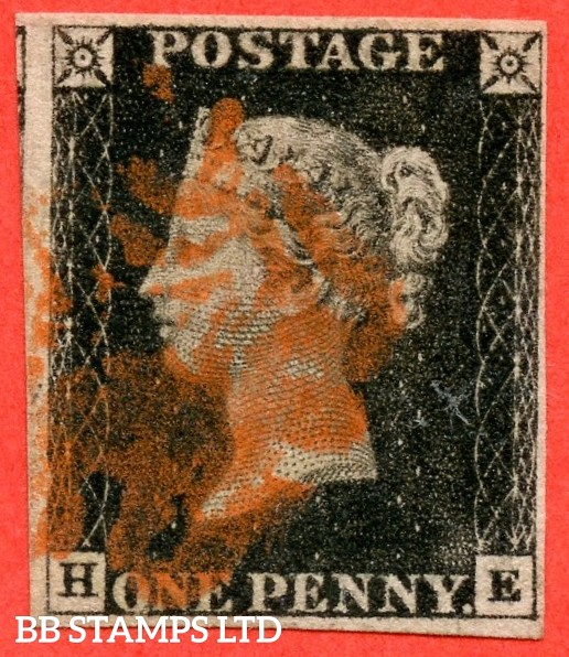 """SG. 2. A1 (2). AS46. """" HE """". 1d black. Plate 8. State 1. A good used example cancelled by a red maltese cross."""