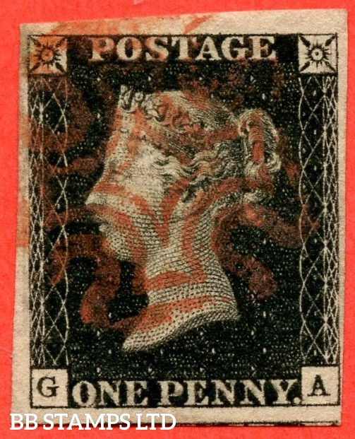"SG. 2. A1 (2). AS46. "" GA "". 1d black. Plate 8. A fine used example cancelled by a red maltese cross."