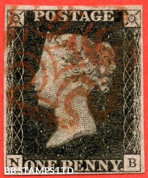 "SG. 2. A1 (2). AS46. "" NB "". 1d black. Plate 8. A fine used example cancelled by a single red maltese cross."