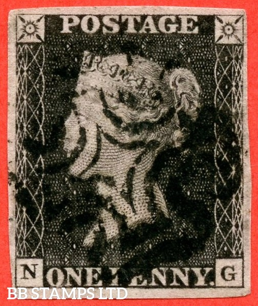 """SG. 2. A1 (2). AS46. """" NG """". 1d black. Plate 8. A fine used example cancelled by a black maltese cross. With the constant variety """" ' O ' flaw """"."""