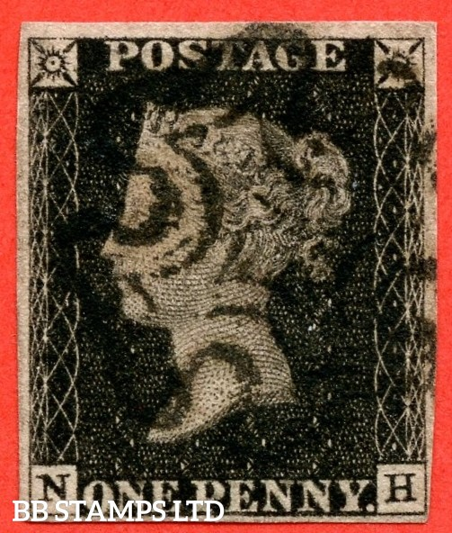 """SG. 2. A1 (2). AS46. """" NH """". 1d black. Plate 8. A fine used example cancelled by a black maltese cross. With the constant """" ' O ' flaw """" variety."""