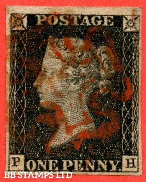 "SG. 2. A1 (2). AS46. "" PH "". 1d black. Plate 8. A fine used example cancelled by a single red maltese cross."