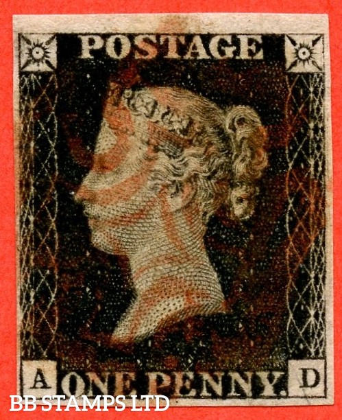 """SG. 2 c. A1 (2) h. AS56. """" AD """". 1d black. Plate 9. State 1. A fine used example cancelled by a red maltese cross with the listed variety """" Vertical guide line NE square """" also """" ' O ' flaw variety."""