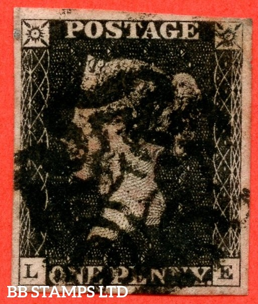 """SG. 2 c. A1 (2) h. AS56. """" LE """". 1d black. Plate 9. A good used example cancelled by a black maltese cross with the listed variety """" Vertical guide line NE & SE squares """" also """" ' O ' flaw variety."""