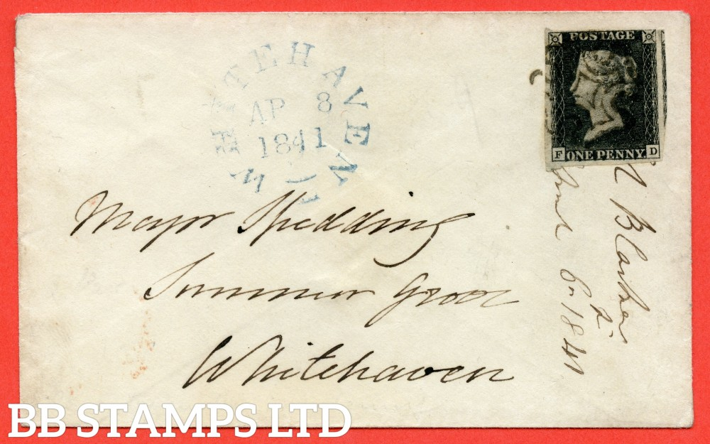 """SG. 2. A1 (2). AS56. """" FD """". 1d black. Plate 9. State 1. A fine used example on cover from DUBLIN to WHITEHAVEN dated 6th April 1841. With the """" ' O ' flaw. Left side line extends below and basal shift """" varieties."""