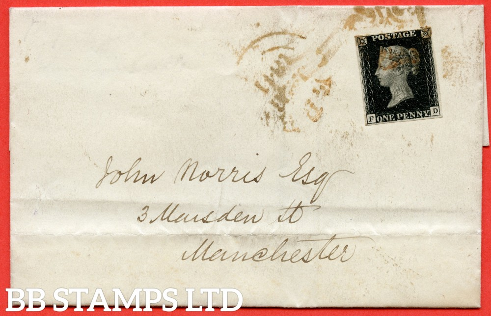 """SG. 2. A1 (2). AS56. """" FD """". 1d black. Plate 9. State 1. A fine used example on cover from DERBY ? To MANCHESTER dated 25th January 1841. With the """" ' O ' flaw. Left side line extends below and basal shift """" varieties."""