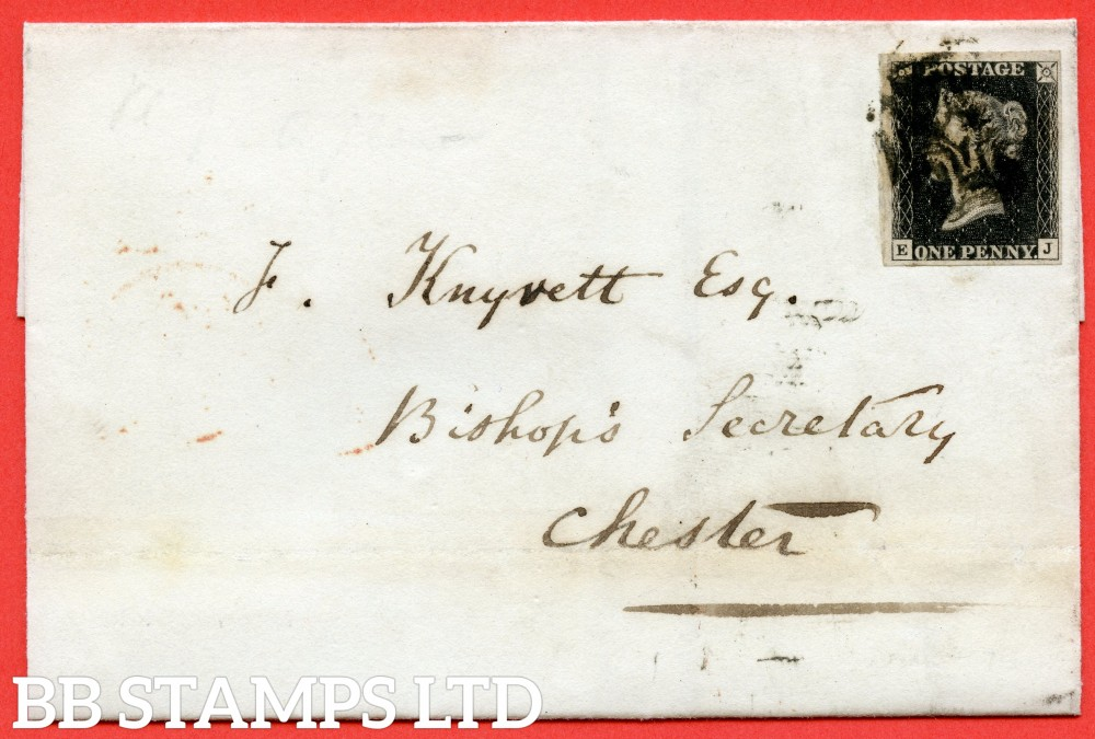 "SG. 2. A1 (2). AS56. "" EJ "". 1d black. Plate 9. A good used example on cover from CAMBRIDGE  to  CHESTER  dated 26th May 1841. With the "" ' O ' flaw "" variety."