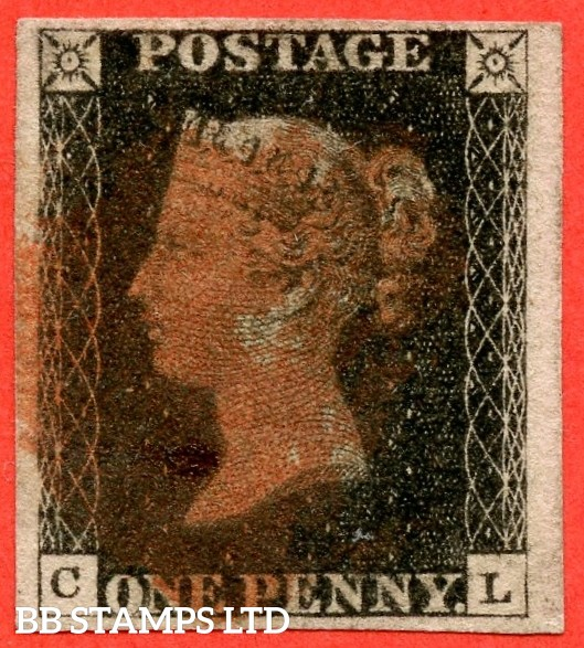"""SG. 2. A1 (2). AS56. """" CL """". 1d black. Plate 9. A good used example cancelled by a red maltese cross. With the constant variety """" ' O ' flaw """"."""