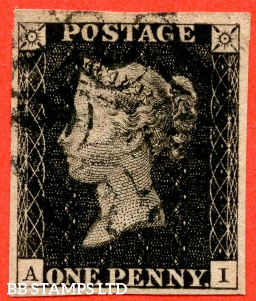 """SG. 2 c. A1 (2) h. AS58. """" AI """". 1d black. Plate 9. STATE 2. A very fine used example with the listed variety """" Vertical guide line NE square """" also """" ' O ' flaw. Right star slightly thinned and guide dot above NE sq. """" varieties. A RARE stamp."""