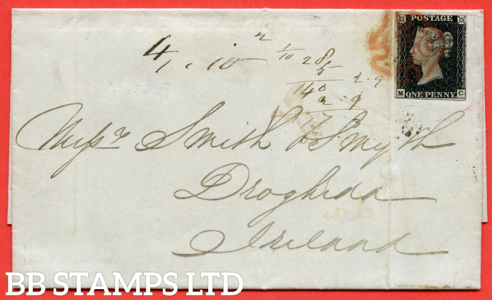 """SG. 2 c. A1 (2) h. AS56. """" MC """". 1d black. Plate 9. A very fine used example on cover from LONDON to DROGHEDA dated 9th December 1840. With the listed """" Vertical guide lines NE & SE squares """" variety. Also """"  ' O ' flaw """" variety."""