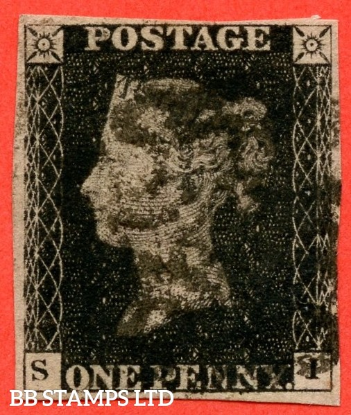 """SG. 2 d. A1 (2) i. AS56. """" SI """". 1d black. Plate 9. A good used example cancelled by a black maltese cross. With the listed """" Horizontal guide line through value """" variety and constant """" ' O ' flaw """" varieties."""