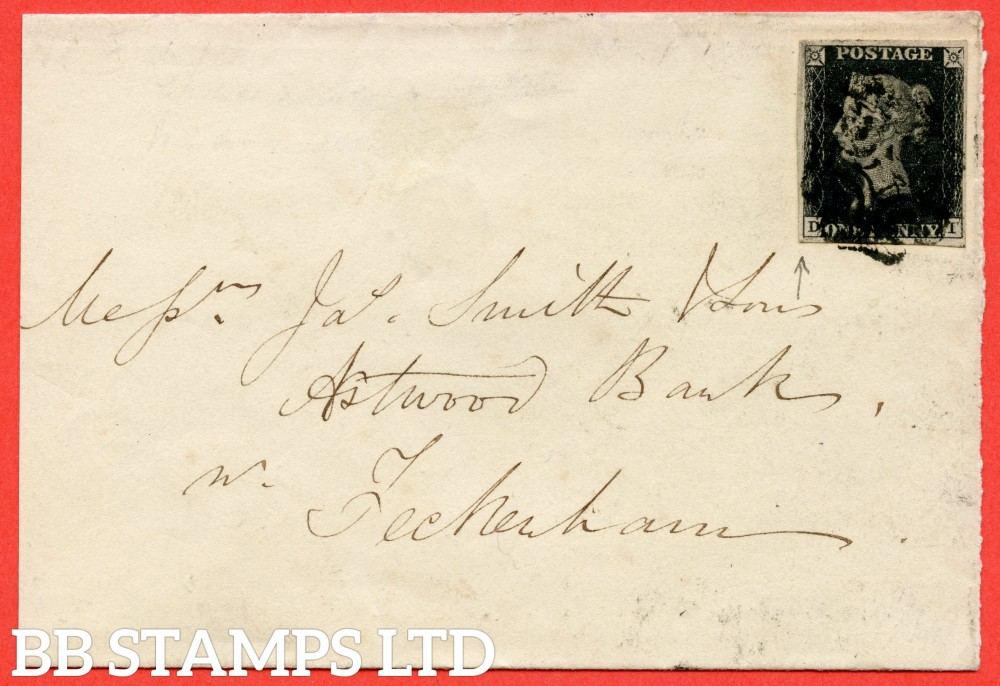 "SG. 2 c. A1 (2) h. AS66. "" DI "". 1d black. Plate 10. A good used example on cover from BIRMINGHAM to FECKENHAM dated 6th March 1841. With the listed "" Vert. guide line NE sq. "" variety. Also "" Bottom line extends below and ' O ' flaw "" variety."