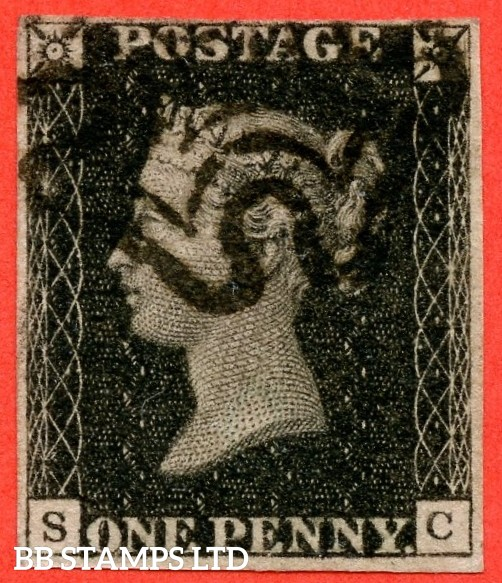 """SG. 2 c. A1 (2) h. AS66. """" SC """". 1d black. Plate 10. A fine used example cancelled by a black maltese cross. With the listed variety """" Vertical guide line NE square """". Also constant """" ' O ' flaw """" variety."""