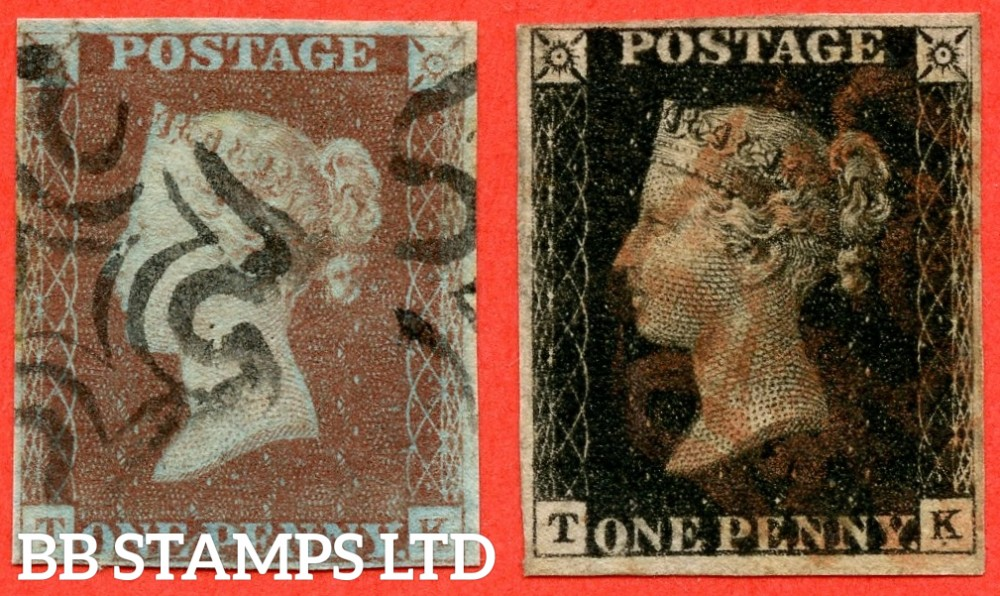 """SG. 2 c & 7. A1 (2) h & A2. AS66 h & AS69. """" TK """". Plate 10. A fine used matched pair with the listed variety """" Vertical guide line NE square """" and varieties """" ' O ' flaw and mark under ' K ' in SE square """"."""