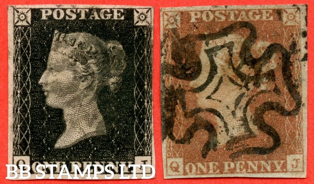 """SG. 2 c & 7. A1 (2) h & A2. AS66 & AS69. """" QJ """". Plate 10. A good used matched pair with the listed variety """" Vertical guide line NE square """" and varieties """" ' O ' flaw and square footed ' J ' with faint ' J ' flaw """"."""