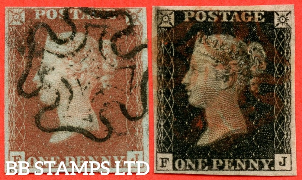 """SG. 2 c & 7. A1 (2) h & A2. AS66 h & AS69. """" FJ """". Plate 10. A fine used matched pair with the listed variety """" Vertical guide line NE square """" and varieties """" ' O ' flaw and square footed ' J ' """"."""
