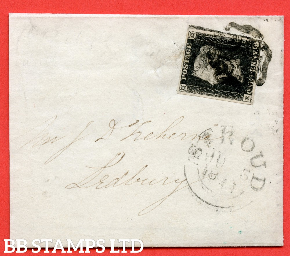 """SG. 2. A1 (2). AS66. """" EC """". 1d black. Plate 10. A fine used example on small cover from NAILSWORTH to LEDBURY dated 3rd June 1841. With the ' O ' flaw """" variety."""