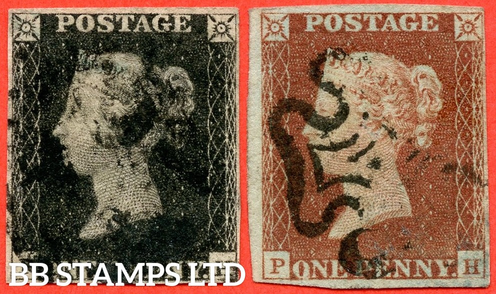 """SG. 2 & 7. A1 (2) & A2. AS66 & AS69. """" PH """". Plate 10. A good used matched pair both with the constant varieties """" ' O ' flaw and squat ' H ' """"."""