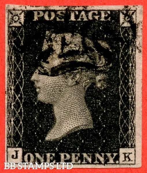 """SG. 2 d. A1 (2) i. AS66 g. """" JK """". 1d black. Plate 10. A very fine used example cancelled by a black maltese cross. With the listed """" Horizontal line and two dots in lower margin Horizontal guide line through value """" varieties. Also """" ' O ' flaw """" variety"""