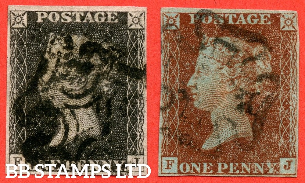 "SG. 2 & 7. AS73 & AS74. "" FJ "". 1d black & 1d red brown. Plate ELEVEN. A fine used matched pair of this scarce plate. Complete with RPS certificate."