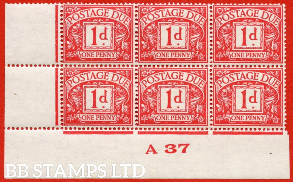 "SG. D20. R20. 1d carmine. A very fine lightly mounted mint "" control A37 imperf "" block of 6."