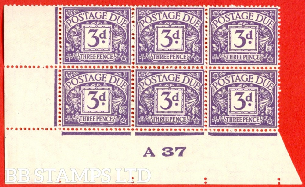 "SG. D22. 3d dull violet. A superb UNMOUNTED MINT control "" A37 imperf "" block of 6. A very scarce multiple."