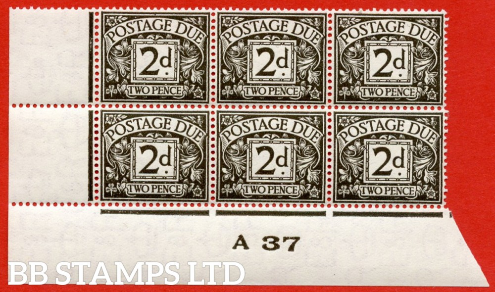 "SG. D21. R21. 2d agate. A superb UNMOUNTED MINT "" control A37 imperf "" block of 6. A very scarce multiple."