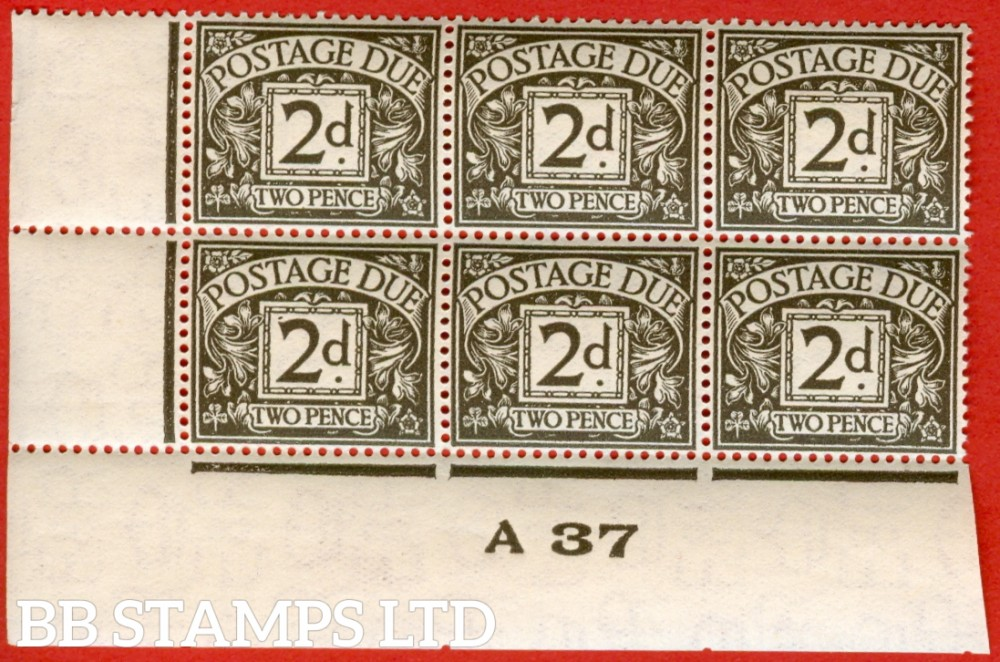 "SG. D21. 2d agate. A very fine mint control "" A37 imperf "" block of 6. A very scarce multiple."