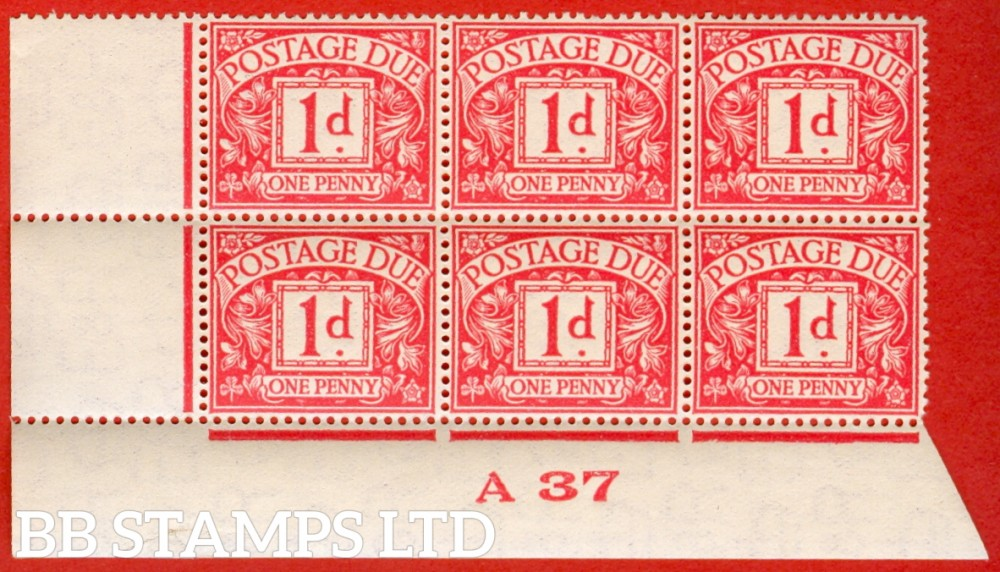"SG. D20. 1d carmine. A superb UNMOUNTED MINT control "" A37 imperf "" block of 6. A very scarce multiple."